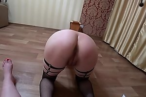 Lesbian with a whip undresses and fucks a pregnant mil with a juicy ass, light domination POV.