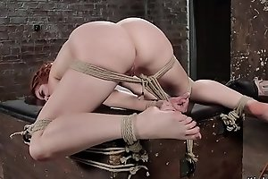Suspended redhead vibrated in hogtie
