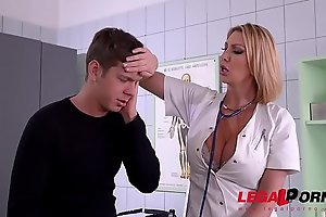 Top-heavy Doc Leigh Darby cures patient through big hard cock sucking in 69 GP523