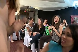 Partying cfnm babe blows cock and balls