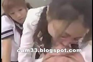 Hot japanese teacher kissing and spitting