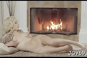 Prodigious young babe Lily L. gobbles down a big tool