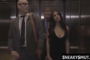Stuck in the elevator and fucked by coworker