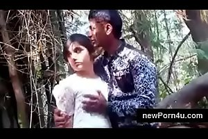 Most Beautiful and cute Indian girl kiss and boob pressed by bf at jungle at newPorn4u.com