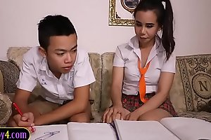 Asian boy sucks off ladyboy to pieces partner schoolgirl