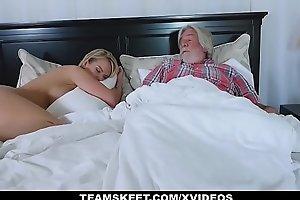 Familystrokes - sexy white excited white BBC slut copulates her stepson