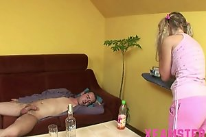 Horny juvenile diminutive dilettante stepsister taking stepbros pecker unfathomable in throat & cunt