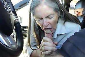 granny blowjob surrounding buggy car - cum