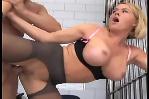 Office-holder footjob plus shacking about regarding patched about stockings