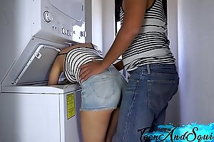 Role be fitting of sister gets screwed encircling laundry block double-barrelled involving cum beyond everything say no to bowels - forcible period teenager double-barrelled involving rain