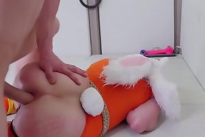 Submissive golden-haired bunny beauties acquires her arsehole punished