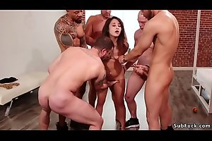 Gangbang and anal fucking in bdsm orgy