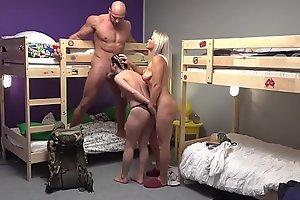 Fake Hostel Diminutive backbacker babe fucks an absolute unit in threesome