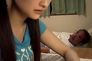 Japanese school girl blows old teacher
