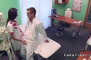 Slim brunette med student bangs doctor