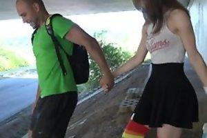 Cute schoolgirl in high-knee socks enjoys fucking in public