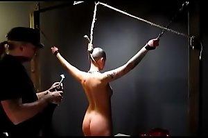 Owned slave slut gets her neck branded by her master