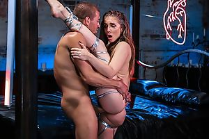 Busty bartender gets her pussy fucked good and proper