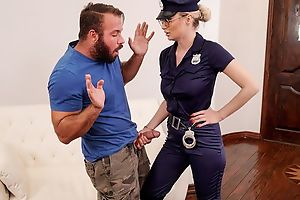 Gorgeous cop lady with big juggs fucks bearded stallion