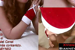 My sexy stepmom dresses as Mrs. Santa Claus. She sucks my dick until it is hard, then she rides on top until all the cum is out.